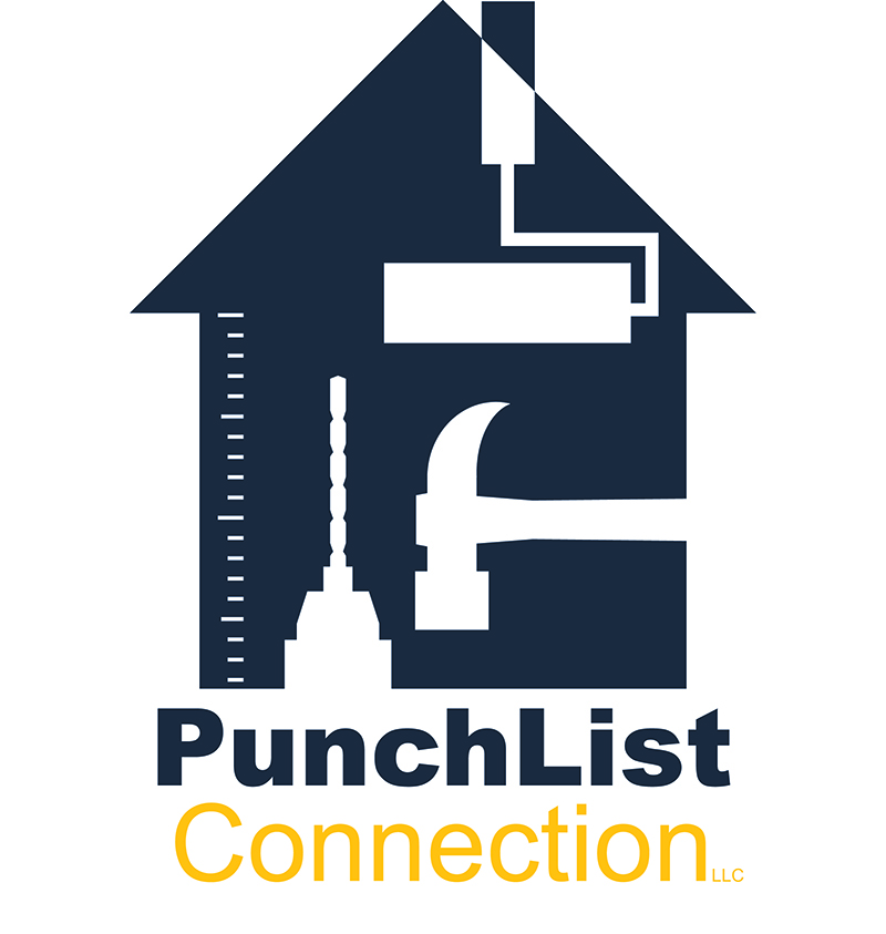A blue house with tools in knock out white, lettering underneath reads PunchList Connection.